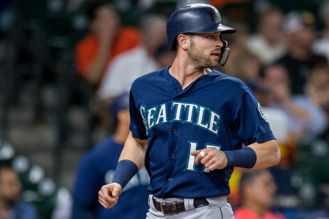 Mitch Haniger and the Seattle Mariners face the Texas Rangers on Tuesday. Photo by Trask Smith/UPI