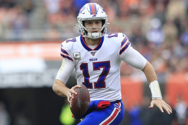 Buffalo Bills quarterback Josh Allen had a passing score and a rushing score in a win against the Dallas Cowboys Thursday in Arlington, Texas. Photo by Aaron Josefczyk/UPI