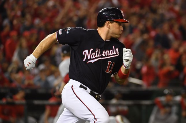 Washington Nationals veteran Ryan Zimmerman was the team's first draft selection when the franchise moved from Montreal to Washington, D.C. He has played for the club in every season since making his debut Sept. 1, 2005. File Photo by Kevin Dietsch/UPI