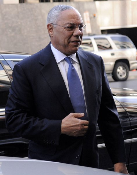 Former Secretary of State Colin Powell arrives at the U.S. District Court in Washington on October 9, 2008. Powell is a witness in the Sen. Ted Stevens (R-AK) trial regarding accusations that he lied on Senate forms concealing more than $250,000 in renovations on his home and other gifts he received from a former oil pipeline company executive. (UPI Photo/Kevin Dietsch)
