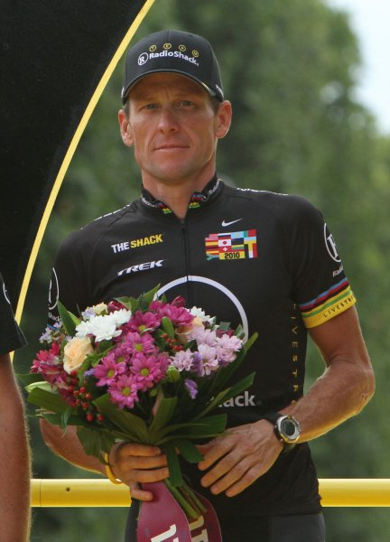 Lance Armstrong, shown at the conclusion of the 2010 Tour de France, had his seven Tour de France champoinships stripped Monday by the Internaitonal Cycling Federation. UPI/David Silpa