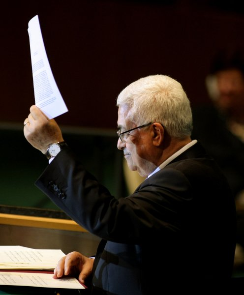 Mahmoud Abbas, Palestinian Authority president, holds up the letter he presented to Secretary-General Ban Ki-moon asking for Palestinian statehood as he addresses the 66th session of the United Nations General Assembly at the UN on September 23, 2011 in New York City. Abbas is asking the UN to recognize Palestinian statehood, against the wishes of the US and Israel. UPI/Monika Graff