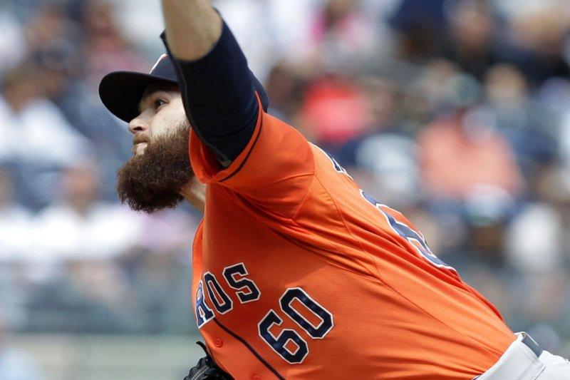 Houston Astros starting pitcher Dallas Keuchel. UPI/John Angelillo
