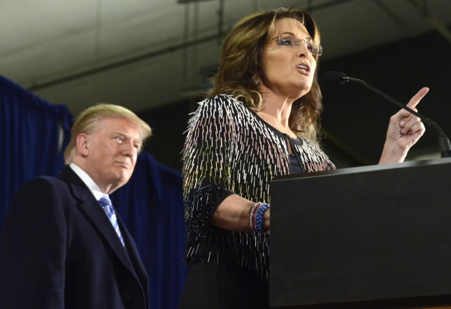 Former Alaska governor and 2008 Republican vice presidential candidate Sarah Palin announced her endorsement of Donald Trump for the GOP nomination for president. The two appeared together Tuesday in Ames, Iowa. Photo by Mike Theiler/UPI