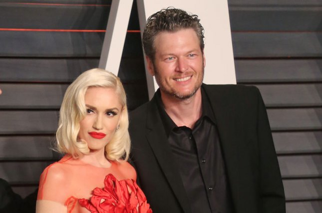 Gwen Stefani and Blake Shelton attend the 2016 Vanity Fair Oscar Party in Beverly Hills on February 28, 2016. Shelton will perform at the 51st Academy of Country Music Awards. File Photo by David Silpa/UPI