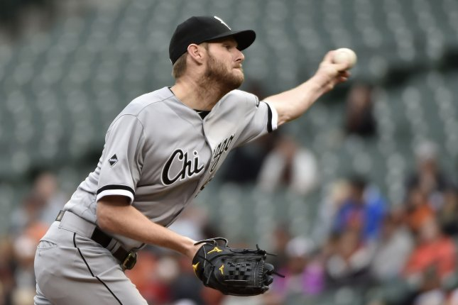Chicago White Sox starting pitcher Chris Sale (49). Photo by David Tulis/UPI
