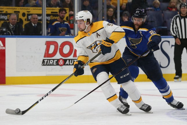 Nashville Predators star Filip Forsberg tallied a score against the St. Louis Blues on Wednesday in Nashville. File photo by BIll Greenblatt/UPI