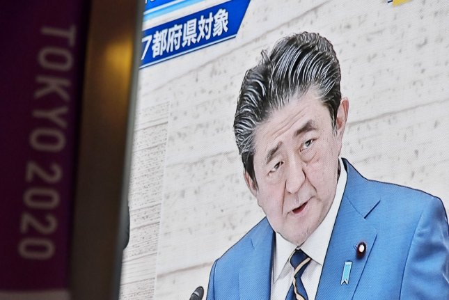 Japanese Prime Minister Shinzo Abe supports the acquisition of new attack capabilities for Tokyo's self-defense force, according to a Japanese press report. File Photo by Keizo Mori/UPI