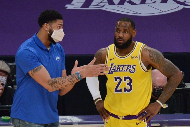 Los Angeles Lakers forward Anthony Davis (L), shown Feb. 20, 2021, missed Game 5 against the Phoenix Suns because of a groin injury. File Photo by Jim Ruymen/UPI