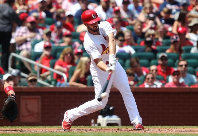 St. Louis Cardinals connects for a single in the first inning against the Atlanta Braves at Busch Stadium in St. Louis on August 13, 2017. Atlanta defeated St. Louis 6-3. Photo by Bill Greenblatt/UPI