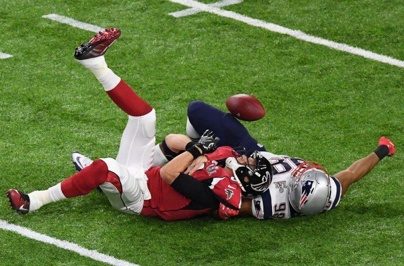 New England Patriots defensive end Trey Flowers sacks Atlanta Falcons quarterback Matt Ryan during the Super Bowl. Photo by Jon SooHoo/UPI