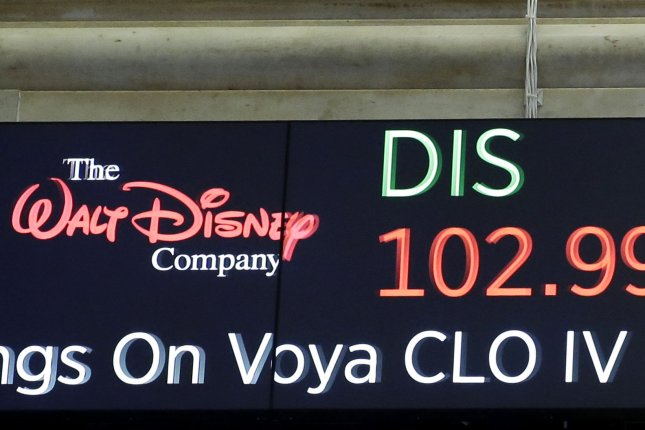 Shares of The Walk Disney Company are shown on a board at the New York Stock Exchange on Wall Street in New York City. File Photo by John Angelillo/UPI