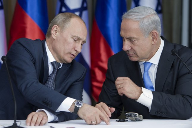 Russian President Vladimir Putin and Israeli Prime Minister Benjamin Netanyahu will meet in Sochi, Russia, to discuss national and international matters. Photo by Jim Hollander/Pool/UPI