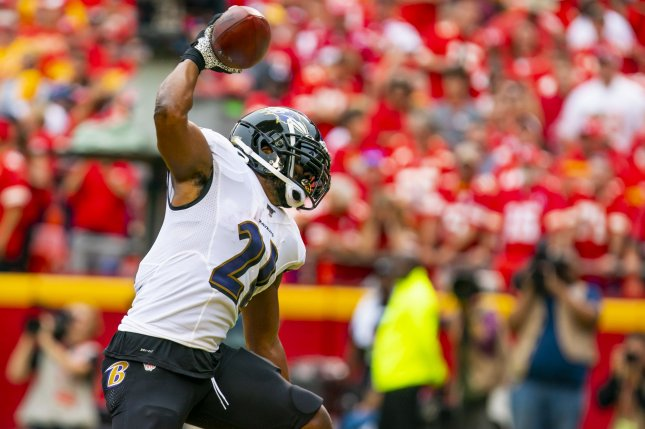 Baltimore Ravens running back Mark Ingram suffered his calf injury in the Ravens' win over the Cleveland Browns on Dec. 22. File Photo by Kyle Rivas/UPI