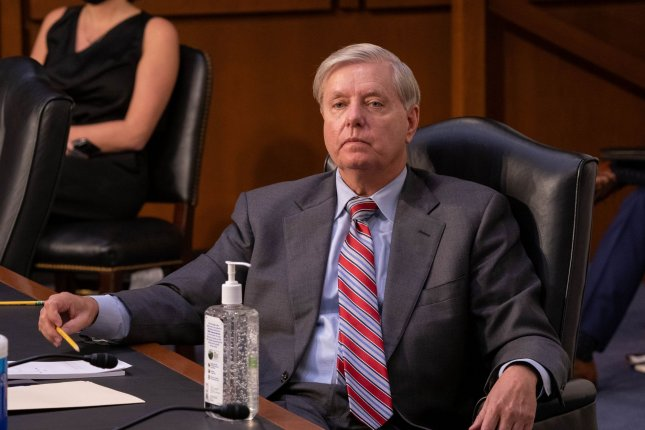 Sen. Lindsey Graham, R-S.C., listens to testimony during a judiciary committee hearing on the nomination of Amy Coney Barrett to the U.S. Supreme Court on October 15. Photo by Ken Cedeno/UPI