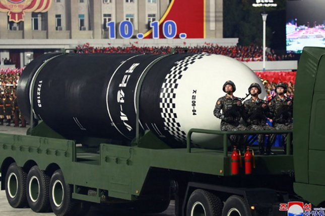 The Stockholm International Peace Research Institute estimates that Pyongyang has anywhere from 40 to 50 nuclear weapons. File Photo by KCNA/UPI