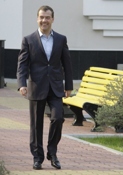 Russian President Dmitry Medvedev walks outside of his residence in city of Khabarovsk, about 6100 km (3,800 miles) east of Moscow, on May 21, 2009. Medvedev visited the Far Eastern city of Khabarovsk for a meeting with senior EU officials. (UPI Photo/Anatoli Zhdanov)