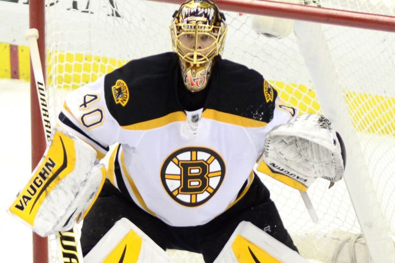 Boston Bruins goalie Tuukka Rask (40) looking to make a save. File photo by Archie Carpenter/UPI