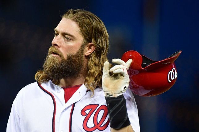 The Nationals placed Jayson Werth on the 10-day disabled list and recalled Ryan Rabon on Monday. File photo by Kevin Dietsch/UPI