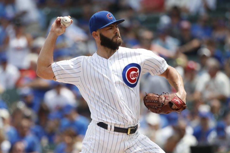 Chicago Cubs starting pitcher Jake Arrieta delivers a pitch. File photo by Kamil Krzaczynski/UPI