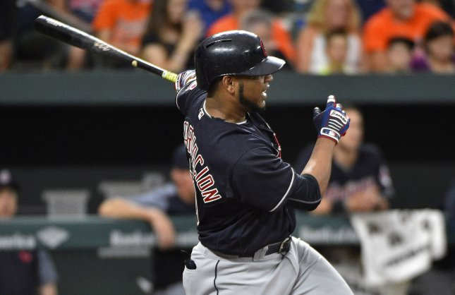 Edwin Encarnacion and the Cleveland Indians got back on the winning track by toppling the Kansas City Royals on Saturday. Photo by David Tulis/UPI
