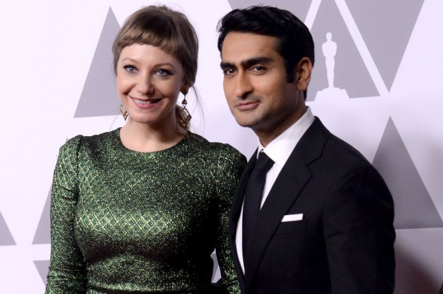 Emily V. Gordon (L) and Kumail Nanjiani are writing and executive producing a new anthology series for Apple. File Photo by Jim Ruymen/UPI
