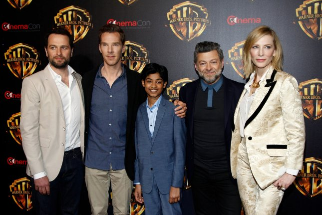 Matthew Rhys (from left), Benedict Cumberbatch, Rohan Chand, Andy Serkis and Cate Blanchett arrive for the CinemaCon 2018 Warner Bros. studio presentation in Las Vegas on April 24. Netflix will release the movie next year. File Photo by James Atoa/UPI