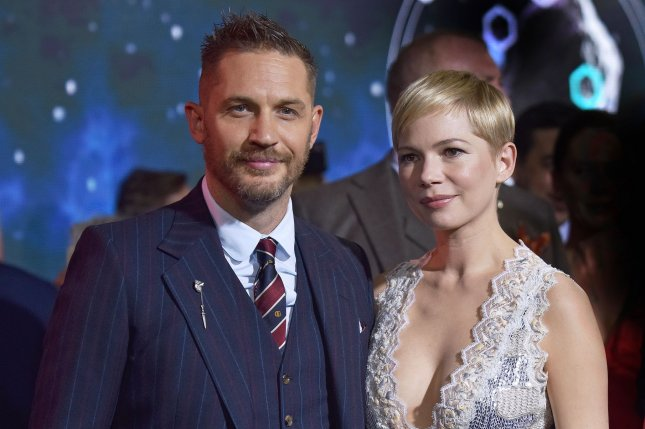 Venom stars Tom Hardy (L) and Michelle Williams. Sony has started development on a sequel. File Photo by Chris Chew/UPI