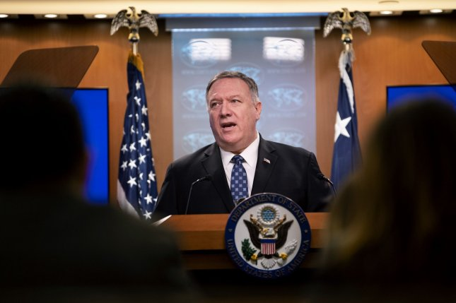 Secretary of State Mike Pompeo told reporters Wednesday that the Trump administration is evaluating how to block China's access to Americans' information online. Photo by Kevin Dietsch/UPI