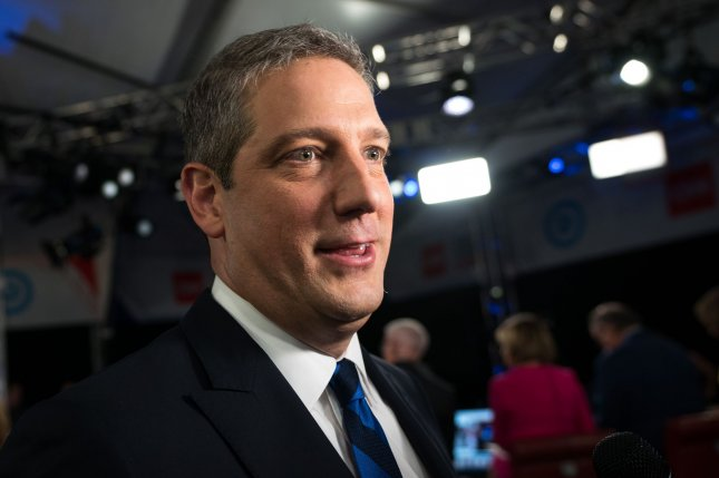 Rep. Tim Ryan, D-Ohio, speaks to the media following the CNN Democratic Presidential Debate in Detroit on July 30, 2019. He has tested positive for COVID-19. File photo by Kevin Dietsch/UPI
