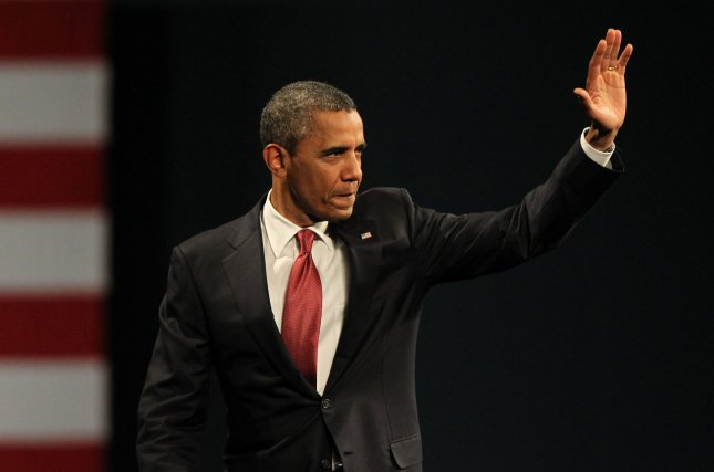 President Barack Obama waves at a campaign event, a fundraiser hosted by the Democratic National Committee's Women's Leadership Forum and the Obama Campaign group Women for Obama, April 27, 2012 in Washington. UPI/Molly Riley/Pool