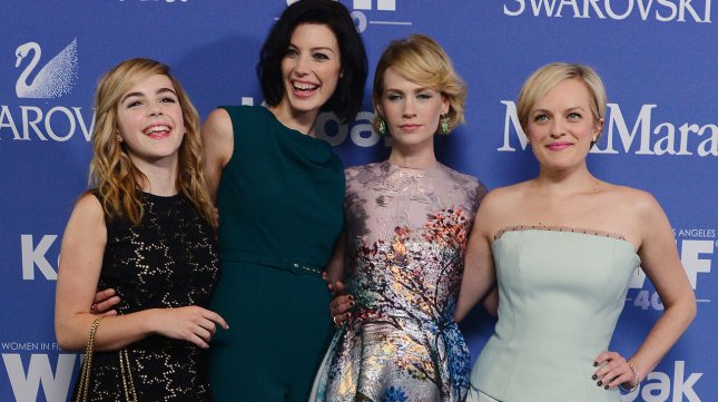 Mad Men cast members (L-R) Kiernan Shipka, Jessica Pare, January Jones, and Elisabeth Moss arrive for the Crystal + Lucy Awards. The show had its season finale this weekend. UPI/Jim Ruymen