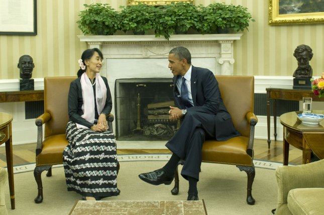 Aung San Suu Kyi meets with U.S. President Barack Obama in the White House Oval Office Sept. 19, 2012. UPI/Kevin Dietsch