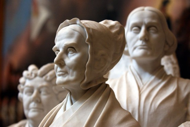 A statue of Elizabeth Cady Stanton, Lucretia Mott and Susan B. Anthony in the Capitol Building taken Feb. 26, 2004, in Washington. The three women were among the most recognized fighters for the women's right to vote. File Photo by Michael Kleinfeld/UPI