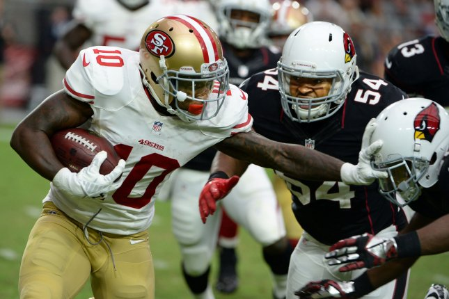 Former San Francisco 49ers WR Bruce Ellington (L) was signed Friday by the Houston Texans. File photo by Art Foxall/UPI