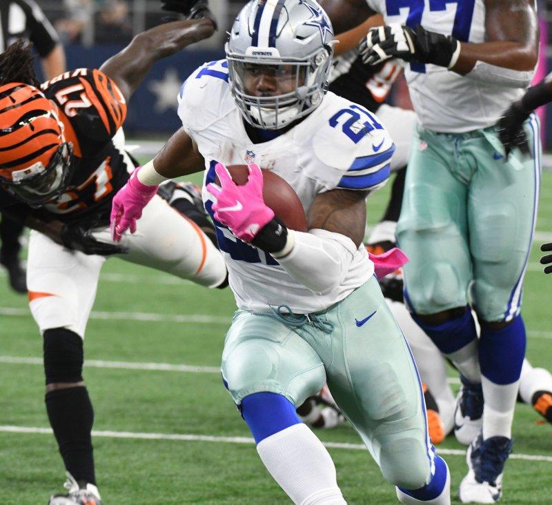 Dallas Cowboys running back Ezekiel Elliott rushes against the Cincinnati Bengals during their game last season. Photo by Ian Halperin/UPI