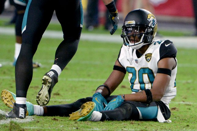 Jacksonville Jaguars cornerback Jalen Ramsey sits on the field after the Arizona Cardinals kicked the game-winning field goal in the fourth quarter on November 26, 2017 at University of Phoenix Stadium in Glendale, Arizona. Photo by Art Foxall/UPI