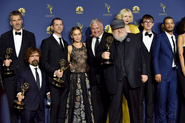 The cast and crew of Game of Thrones appear backstage during the 70th annual Primetime Emmy Awards on Monday. Photo by Christine Chew/UPI