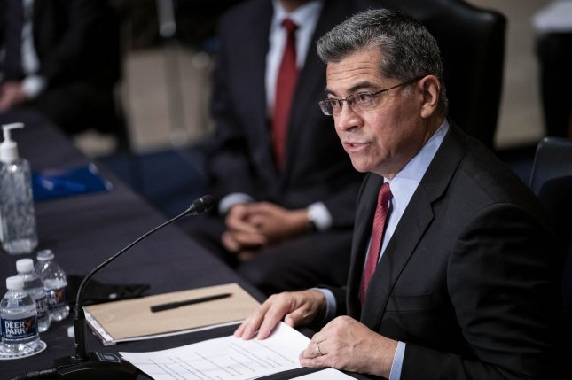 Xavier Becerra, President Joe Biden's nominee for secretary of health and human services, testifies during his confirmation hearing before the Senate Committee on Health, Education, Labor and Pensions at the U.S. Capitol on Tuesday. Pool Photo by Sarah Silbiger/UPI