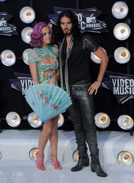 Singer Katy Perry and her husband, actor Russell Brand arrive at the MTV Video Music Awards in Los Angeles on August 28, 2011 in Los Angeles. UPI/Jim Ruymen