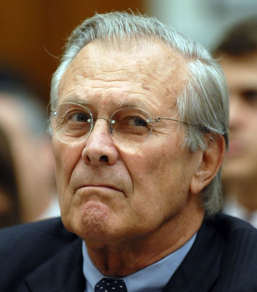 Former Defense Secretary Donald Rumsfeld has yet to voice support for presumptive Republican presidential nominee John McCain. (File photo Rumsfeld testifying on Capitol Hill Aug. 1, 2007.) (UPI Photo/Roger L. Wollenberg)