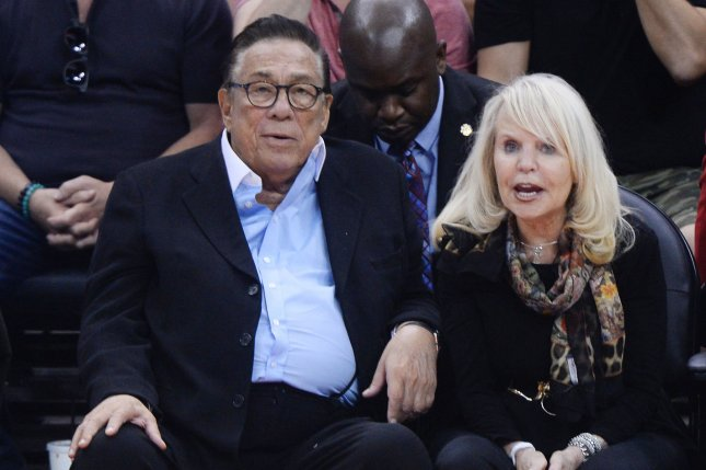 Los Angeles Clippers owner Donald Sterling sits court side with his wife, Rochelle Sterling, at Game 1 in the first round of the Western Conference playoff series against the Golden State Warriors at Staples Center in Los Angeles on April 19, 2014. (Jim Ruymen/UPI)