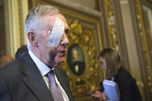 Senate Minority Leader Harry Reid, D-Nev., must have surgery on his right eye following a fall earlier this year. Photo by Kevin Dietsch/UPI