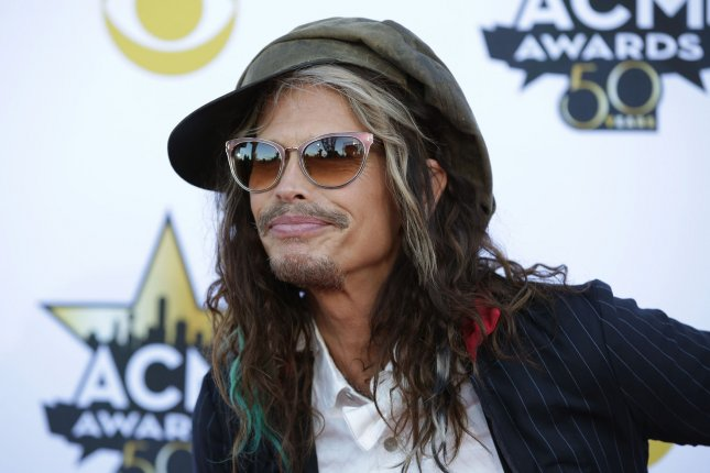 Musician Steven Tyler arrives at the 50th annual Academy of Country Music Awards held at AT&T Stadium in Arlington, Texas on April 19, 2015. Photo by John Angelillo/UPI