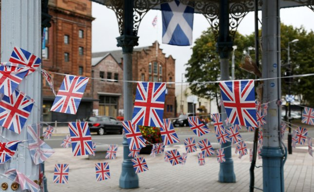 British flags hang in the Glasgow, Scotland, suburb of Bridgeton Sept. 18, 2014, the day voters chose to reject independence and keep their country in the United Kingdom. File Photo by Hugo Philpott/UPI