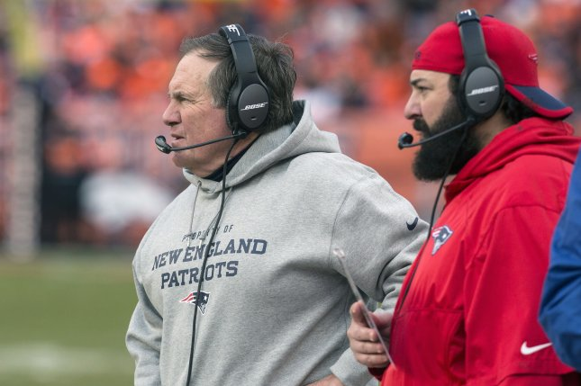 New England Patriots head coach Bill Belichick (L) and defensive coordinator Matt Patricia (R) watch the Denver Broncos offense in the third quarter during the AFC Championship Game on January 24, 2016 at Sports Authority Field at Mile High in Denver. File photo by Gary C. Caskey/UPI
