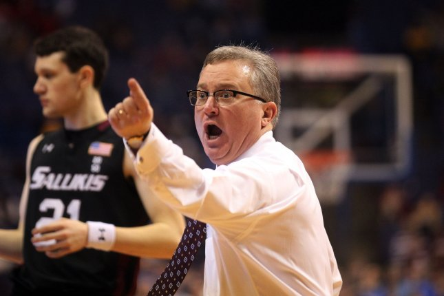 Southern Illinois Salukis head basketball coach Barry Hinson yells at his players in the second half against the Indiana State Sycamores in the Missouri Valley Conference Tournament on March 8, 2014 at the Scottrade Center in St. Louis. File photo by Bill Greenblatt/UPI