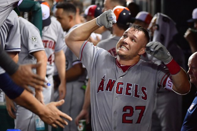 Los Angeles Angels of Anaheim star Mike Trout is a free agent after the 2020 season. His friend, Bryce Harper, who recently signed with the Philadelphia Phillies, says he wants to recruit Trout to be his teammate as soon as his contract ends with the Angels. File Photo by Kevin Dietsch/UPI