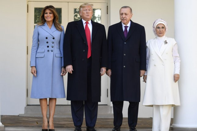 President Donald Trump and first lady Melania Trump welcome Turkish President Recep Tayyip Erdogan and his wife Emine to the White House on Wednesday. Photo by Mike Theiler/UPI