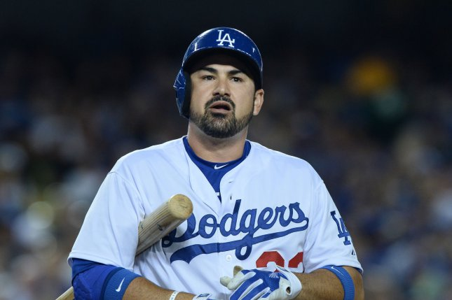 Los Angeles Dodgers' first baseman Adrian Gonzalez gathers himself at the plate before hitting a RBI single in the third inning against the San Francisco Giants at Dodgers Stadium on September 1, 2015. The Dodgers defeated the Giants 2-1 to lead the Giants 5 1/2 games in the National League West. Photo by Jim Ruymen/UPI